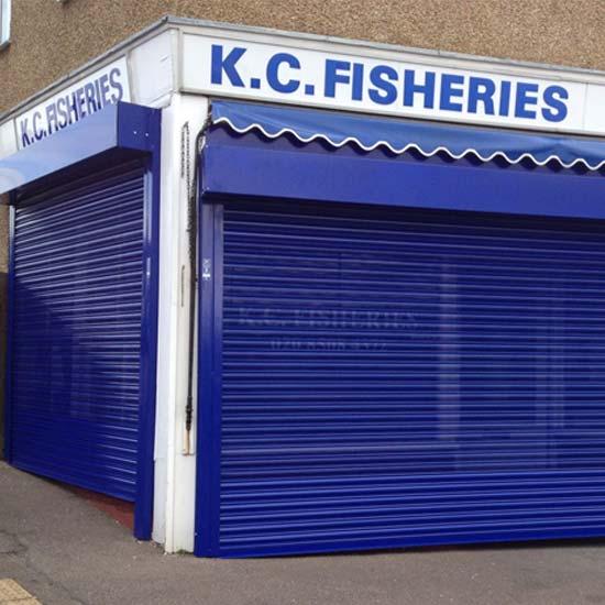 London Fish Shop Powder Coated Roller Shutter