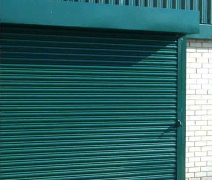 Green Roller Shutter Entrance, London