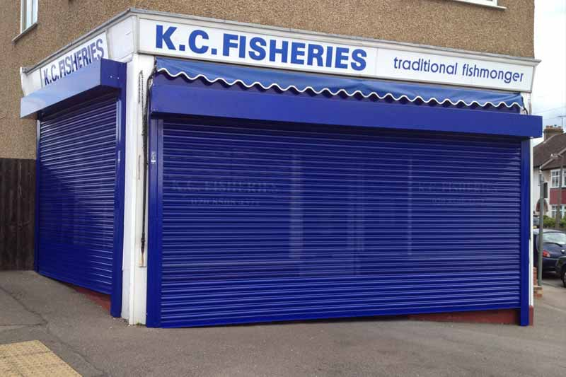 London Powder Coated Blue Perforated Lath Fish Shop Rolller Shutter
