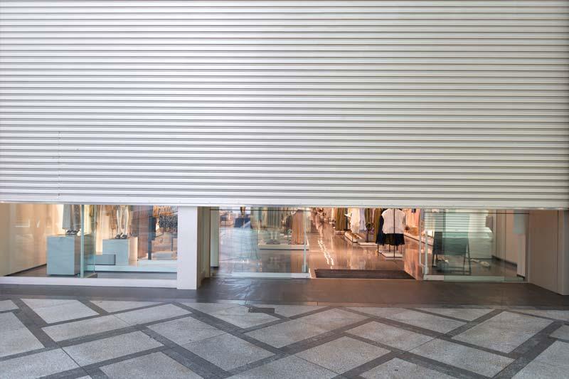 London Retail Centre Shop Roller Shutter Half Open