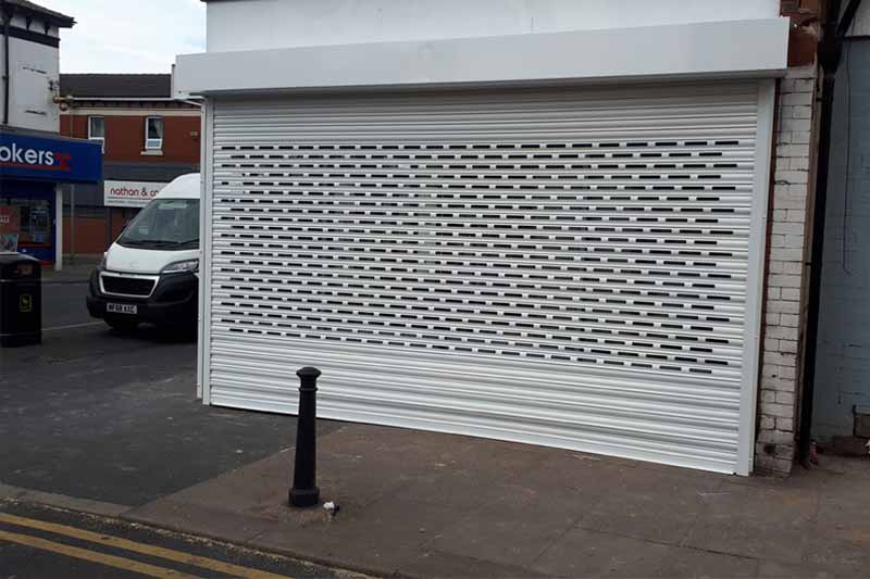 Powder Coated Solid Lath and BrickBond London Shop Roller Shutter